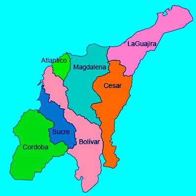 mapa la region caribe